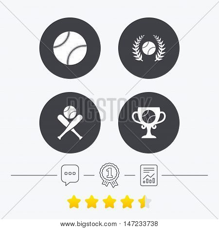 Baseball sport icons. Ball with glove and two crosswise bats signs. Winner award cup symbol. Chat, award medal and report linear icons. Star vote ranking. Vector