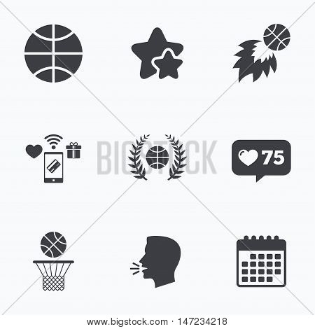 Basketball sport icons. Ball with basket and fireball signs. Laurel wreath symbol. Flat talking head, calendar icons. Stars, like counter icons. Vector