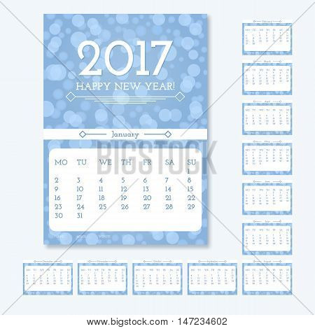 English calendar 2017 year. Vector template design. Week starts Sunday on white background with glare and blur. Can be used for web and print design: card, banner, poster.