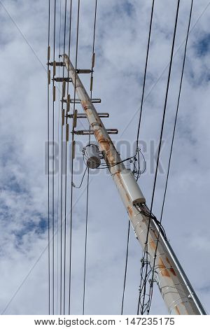 High Voltage Electric Pole, wires, transformer and transmiter
