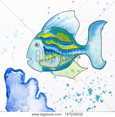 Fish with blue coral - watercolor painted illustration. Coral reef painting. Striped coral fish in cartoon style with black ink outline. Sea life with animal. Watercolour splashes and drops on white