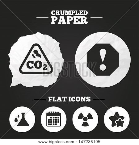 Crumpled paper speech bubble. Attention and radiation icons. Chemistry flask sign. CO2 carbon dioxide symbol. Paper button. Vector