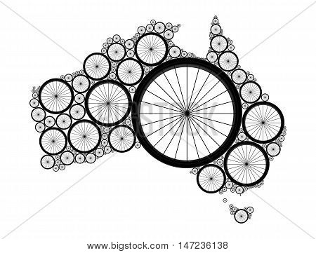 Vector Australia map made of bicycle wheels. Elements of this image furnished by NASA