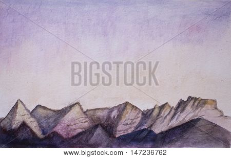 Mountains and sky watercolor landscape. Hand-painted morning view of rocky mountain ridge. Aquarelle artwork. Pink and purple sky painting. Warm color palette horizontal image with place for text