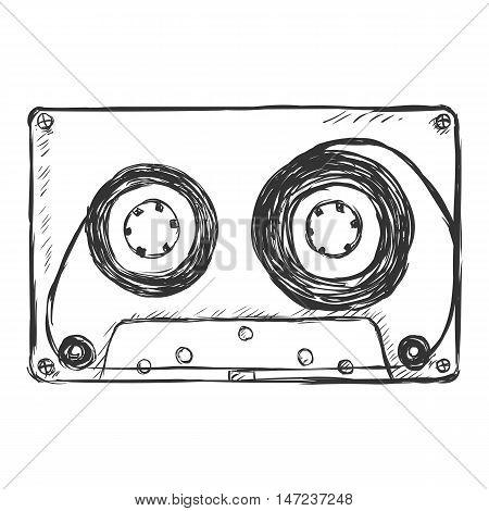 Vector Sketch Illustration - Audiocassette