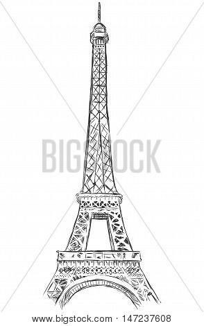Vector Sketch Illustration - Eiffel Tower