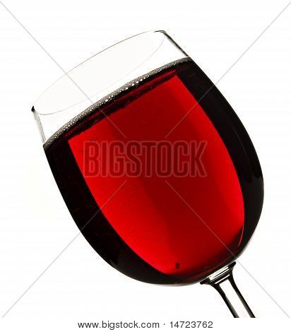 Wine Glass With Red Fruit Juice On White