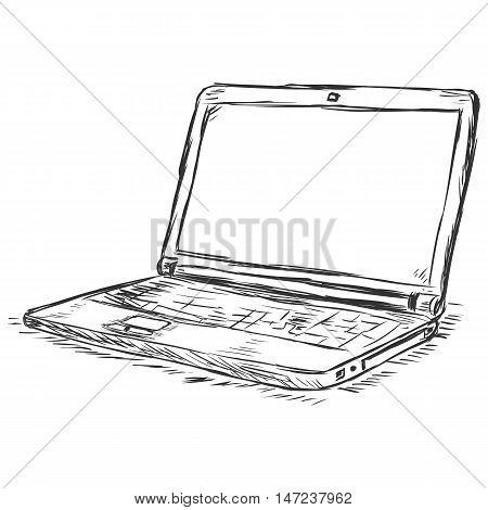 vector sketch illustration - laptop on white background