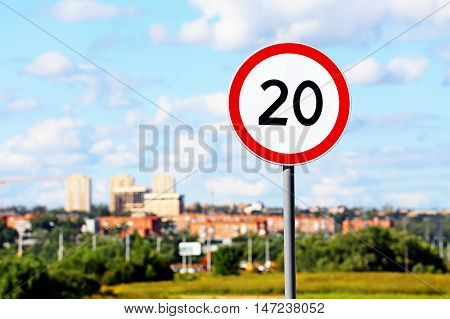 A street road sign. Speed limited sign
