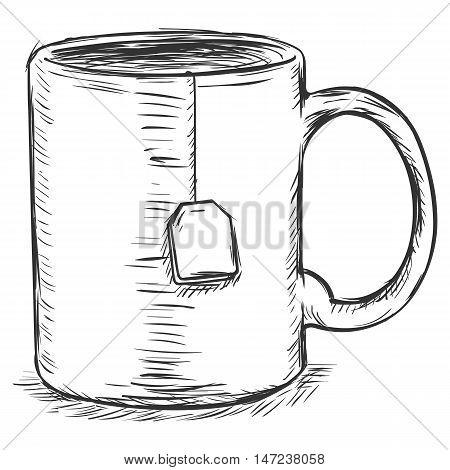 Vector Sketch Illustration - Mug With Tea Bag