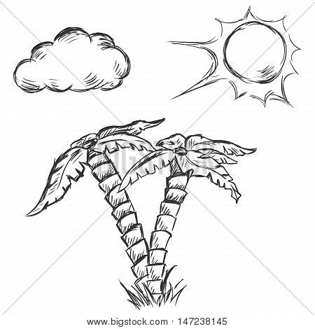 Vector Sketch Illustration - Two Palm Trees, Sun And Clouds