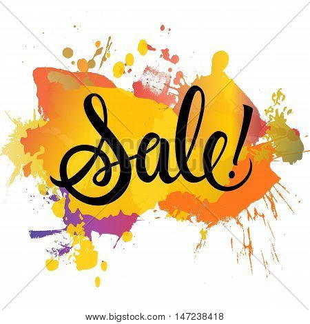 Sale lettering. Black sale autumn inscription with exclamation mark on colorful abstract background. Handwritten text can be used for postcard, flier, banner