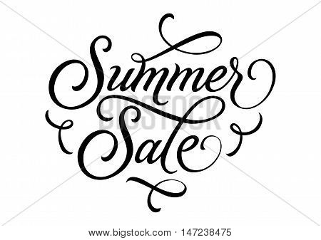 Summer sale lettering. Black summer sale inscription with calligraphic elements on white background. Handwritten text can be used for fliers, posters, banners