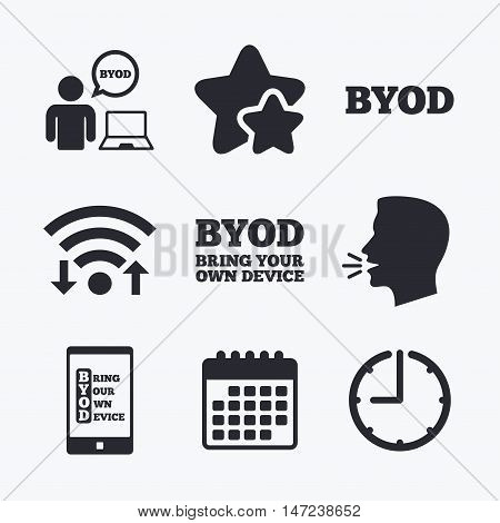 BYOD icons. Human with notebook and smartphone signs. Speech bubble symbol. Wifi internet, favorite stars, calendar and clock. Talking head. Vector