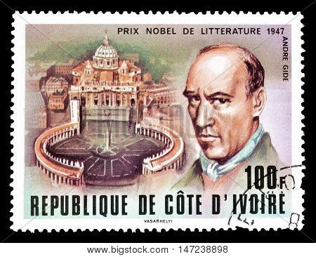 IVORY COAST - CIRCA 1978: Cancelled postage stamp printed by Ivory Coast, that shows Andre Gide.