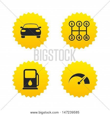 Transport icons. Car tachometer and manual transmission symbols. Petrol or Gas station sign. Yellow stars labels with flat icons. Vector