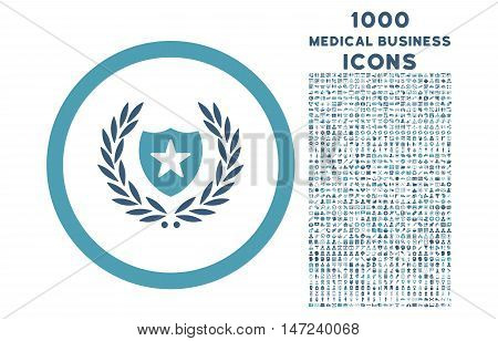 Glory Shield rounded vector bicolor icon with 1000 medical business icons. Set style is flat pictograms, cyan and blue colors, white background.