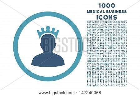 King rounded vector bicolor icon with 1000 medical business icons. Set style is flat pictograms, cyan and blue colors, white background.