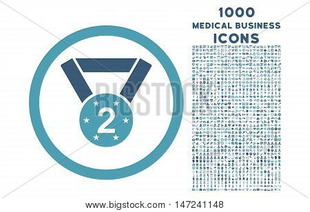 Second Medal rounded vector bicolor icon with 1000 medical business icons. Set style is flat pictograms, cyan and blue colors, white background.