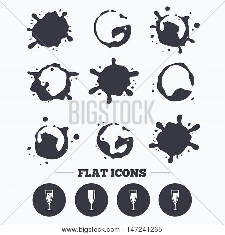 Paint, coffee or milk splash blots. Champagne wine glasses icons. Alcohol drinks sign symbols. Sparkling wine with bubbles. Smudges splashes drops. Vector