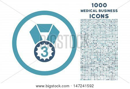 Third Place rounded vector bicolor icon with 1000 medical business icons. Set style is flat pictograms, cyan and blue colors, white background.