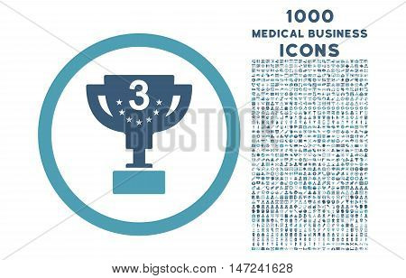 Third Prize rounded vector bicolor icon with 1000 medical business icons. Set style is flat pictograms, cyan and blue colors, white background.