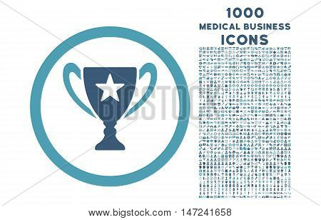 Trophy Cup rounded vector bicolor icon with 1000 medical business icons. Set style is flat pictograms, cyan and blue colors, white background.