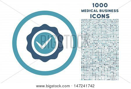 Valid rounded vector bicolor icon with 1000 medical business icons. Set style is flat pictograms, cyan and blue colors, white background.