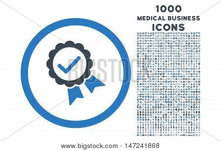 Approved rounded vector bicolor icon with 1000 medical business icons. Set style is flat pictograms, smooth blue colors, white background.