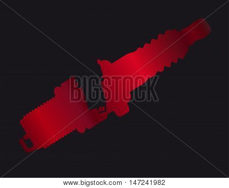 A red spark plug in silhouette on a black background