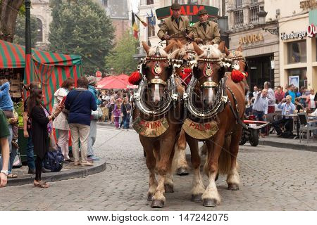 BELGIUM, BRUSSELS - SEPTEMBER 06, 2014: Belgian Beer Weekend 2014. The most famous beer festival in Belgium. Parade of beer manufacturers.