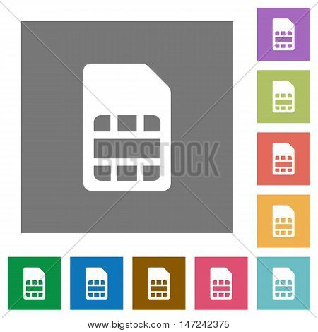 SIM card flat icon set on color square background.