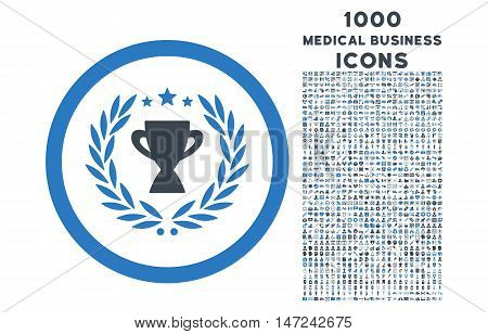Glory rounded vector bicolor icon with 1000 medical business icons. Set style is flat pictograms, smooth blue colors, white background.