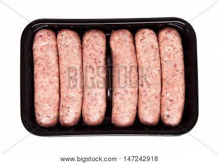 Package of raw beef sausages isolated on white background