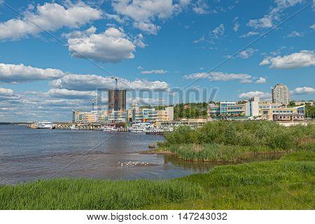 Cheboksary Russia.May 30 2016: Photo of bank of the Volga river in Cheboksary. Russia.