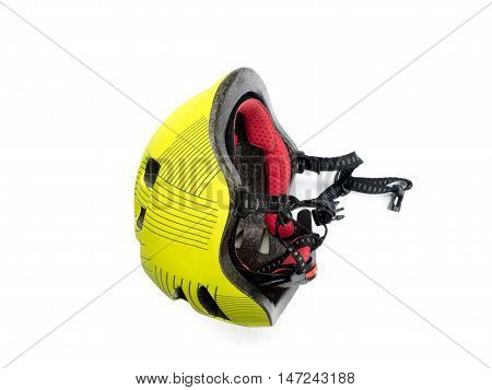 Yellow  Bicycle Helmet Isolated On White Background