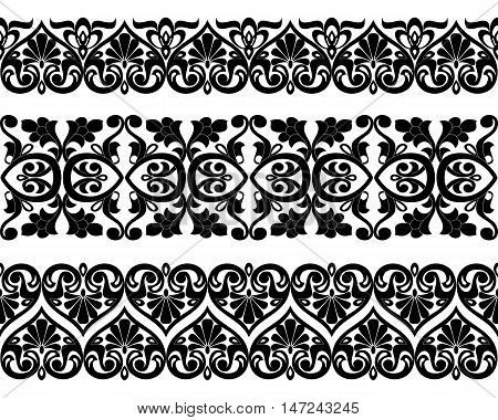 Vector set of Asian seamless tape ribbon patterns in the form of cotton flower in Uzbek national style. Black templates on white background.