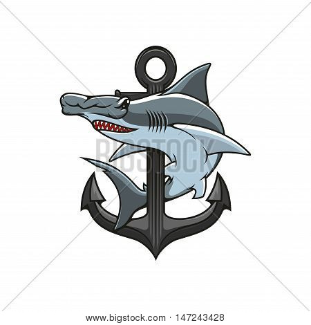 Hammer-head Shark and Anchor icon. Heraldic emblem. Vector nautical shield for heraldry template, t-shirt, shield sign