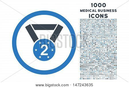 Second Medal rounded vector bicolor icon with 1000 medical business icons. Set style is flat pictograms, smooth blue colors, white background.