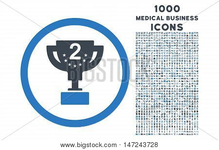 Second Prize rounded vector bicolor icon with 1000 medical business icons. Set style is flat pictograms, smooth blue colors, white background.
