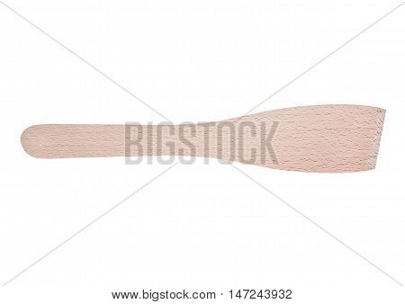 Wooden spatula isolated on white background. Light color