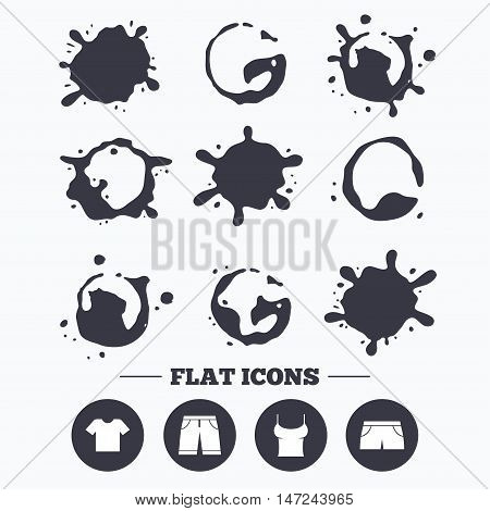 Paint, coffee or milk splash blots. Clothes icons. T-shirt and bermuda shorts signs. Swimming trunks symbol. Smudges splashes drops. Vector