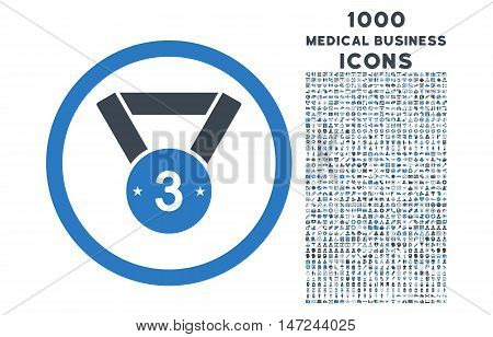 Third Medal rounded vector bicolor icon with 1000 medical business icons. Set style is flat pictograms, smooth blue colors, white background.
