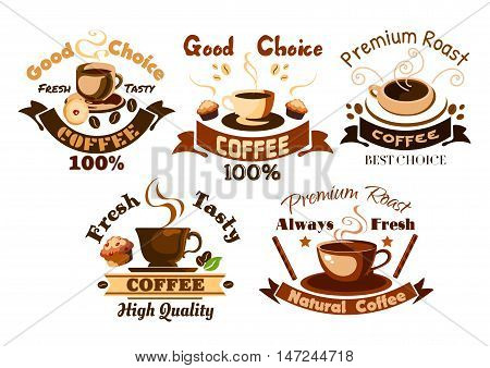Coffee icons set. Hot coffee cups, cappuccino, latte, macchiato, frappe with desserts, muffins and cupcakes. Template for cafeteria menu, cafe signboard, fast food poster