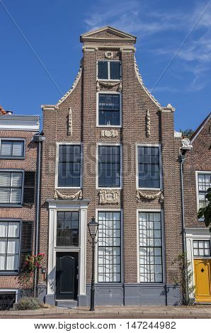 Historical house at a canal in the center of Zwolle Netherlands