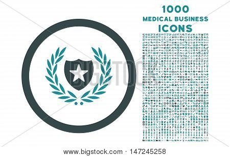 Glory Shield rounded vector bicolor icon with 1000 medical business icons. Set style is flat pictograms, soft blue colors, white background.
