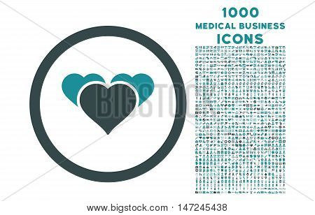 Heart Favourites rounded vector bicolor icon with 1000 medical business icons. Set style is flat pictograms, soft blue colors, white background.
