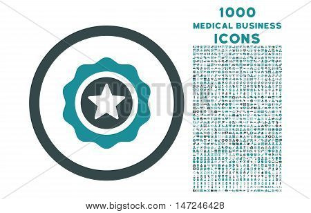 Reward Seal rounded vector bicolor icon with 1000 medical business icons. Set style is flat pictograms, soft blue colors, white background.