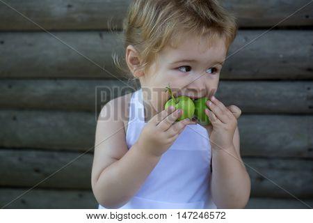 Little Boy Eats Green Apples