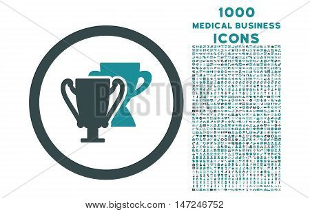 Trophy Cups rounded vector bicolor icon with 1000 medical business icons. Set style is flat pictograms, soft blue colors, white background.